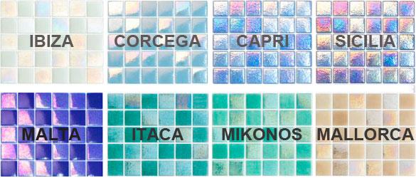 Gama de colores gresite Aqualuxe de Hisbalit